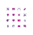 16 colored blue and pink design thin line icons vector image vector image