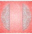 Abstract pink background with white lacy mandala vector image