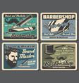 barbershop razors blades haircut scissors combs vector image vector image