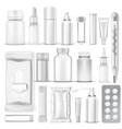 big set 3d blank medical packaging vector image