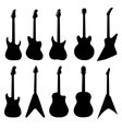 big set of acoustic guitars and electric guitars vector image vector image