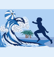boy on beach vector image vector image