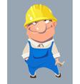 cartoon smiling man worker in helmet vector image vector image