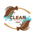 clean your home logotype with two brown brooms vector image vector image