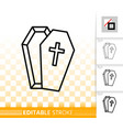 coffin halloween simple black line icon vector image vector image