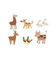 cute farm animals set rabbit alpaca dog goat vector image vector image
