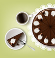 Cutting chocolate cake vector image