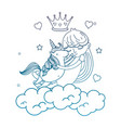 degraded outline girl hugging unicorn in the vector image