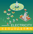 electricity production and distribution template vector image vector image