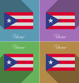 Flags Purto Rico Set of colors flat design and vector image