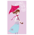 girl in rain vector image