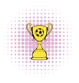 Golden soccer trophy cup icon comics style vector image vector image