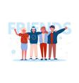 happy best friends hugging vector image vector image