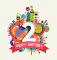 happy birthday 2 year greeting card poster color vector image vector image