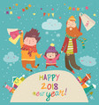 happy family with christmas shopping vector image