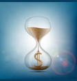 hourglass with a dollar sign made of sand vector image vector image