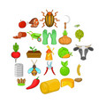 husbandry icons set cartoon style vector image