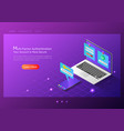 isometric web banner two steps verification vector image vector image