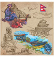 nepal - pictures of life travel collection hand vector image vector image