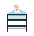 old man lying in bed character vector image vector image