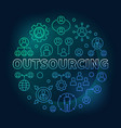 outsourcing round colored outline vector image vector image