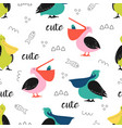 pattern with cute cartoon pelicans vector image vector image