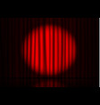 red curtain with spotlight and floor reflection in vector image
