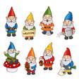 set garden gnome vector image