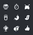 set of fast eating icons vector image
