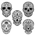 set of sugar skull isolated on white background vector image vector image