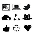 set social networking icons for web and mobile vector image
