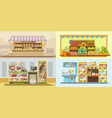 shop counters or store supermarket product display vector image vector image