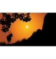 Single antelope silhouette scenery vector image