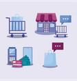 social media marketing set icons vector image