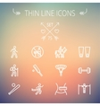 Sports thin line icon set vector image vector image
