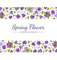 spring flowers banner template with floral vector image