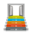 stair with open doors vector image vector image
