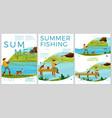 summer fishing posters set - man with dog vector image vector image