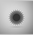 sun icon isolated on grey background flat design vector image