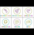 support service color icon set in thing line style vector image