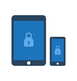 tablet and smartphone with security sign vector image vector image