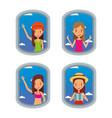 tourist women looking airplane in window travel vector image vector image