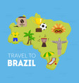 travel to brazil tourist map brazil with vector image