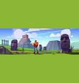 traveler at ancient mayan pyramids or moai statues vector image