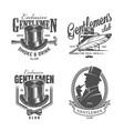 vintage monochrome gentleman logos vector image