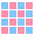 Baby lines icons set vector image