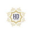 Elegant boutique logo with floral elements Ornate vector image