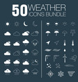 50 weather icons bundle vector image vector image