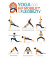 9 yoga poses for hip flexibility vector image vector image