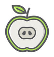 apple cut filled outline icon food and drink vector image